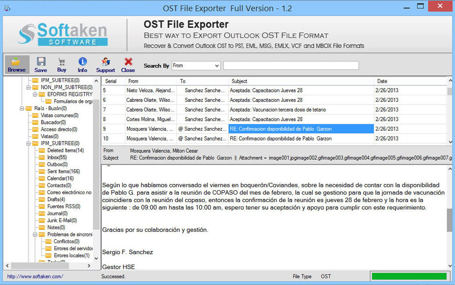 Designed OST to PST Converter